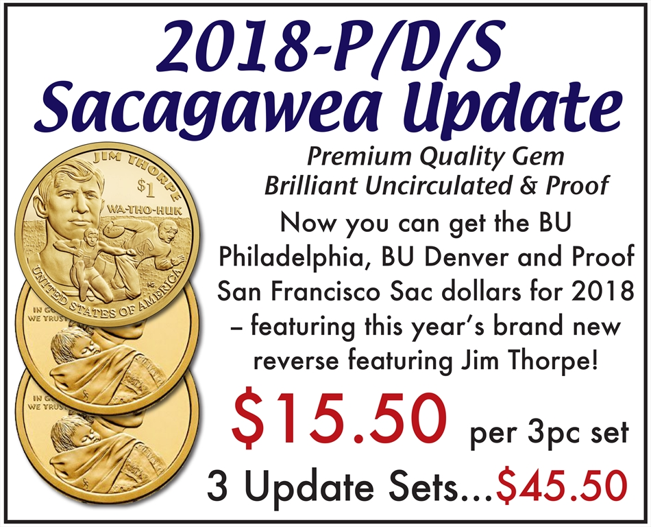 2018 P D S Sacagawea Dollars Collectible Coins Currency Online Rare Us Skyline