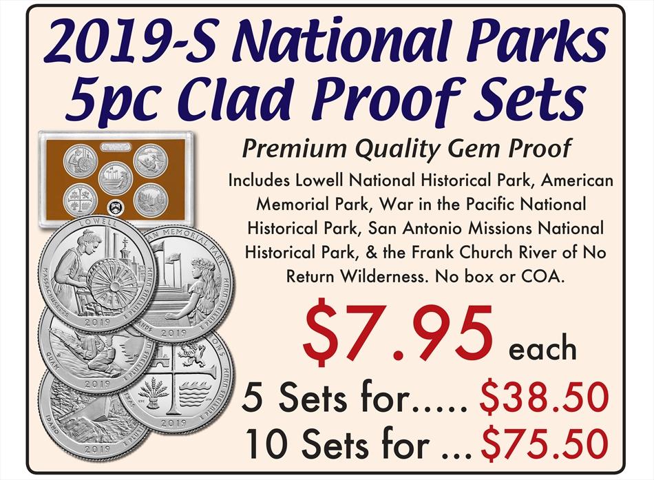 2019 S CLAD National Park Quarters Proof Set No Box or COA